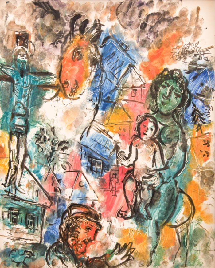 "Marc Chagall. Le Christ au village, 1966. for sale. Monotype printed in colors on Japan paper. signed. A rare and unique work with strong coloring, showcasing Chagall's mastery of color as well as the monotype medium. ""Le Christ au Village"" contains many of the personal and religious symbols and images prevalent in much of his work."