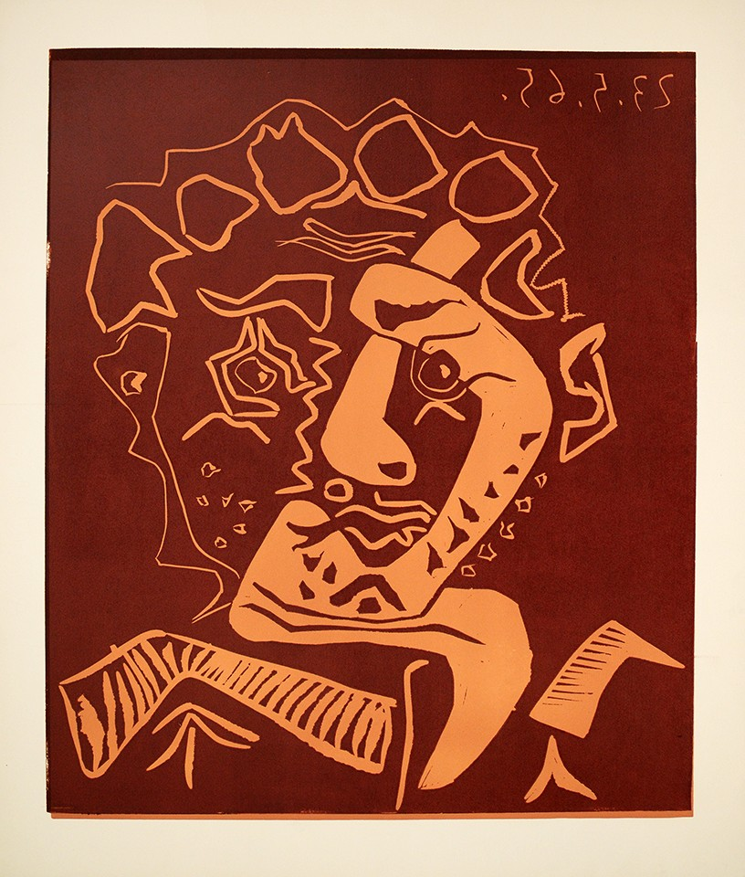 Le Danseur (Tête de'Histrion), 1965 Linoleum cut printed in colors on Arches wove paper. for sale. This progressive proof traces the sequence, color exploration and printing process by which Picasso created his linoleum cut images, showing the development of the image into its final form.