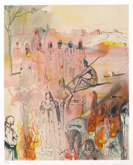"The Marquis de Sade: Tancred's Oath, 1969 Color lithograph on Arches paper Signed and numbered ""VI/XC"" in pencil From the series of 25 color lithographs from original gouaches, ""The Marquis de Sade"" for sale"