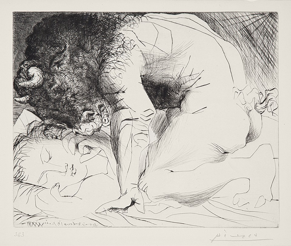 PICASSO, Pablo, 1881-1973 Minotaure caressant du Mufle la Main d'une Dormeuse, 1933-1934 Drypoint on vergé de Montval laid paper Signed and annotated in pencil lower left; for sale at Galerie Michael, Picasso exhibition, rodeo drive, Beverly Hills