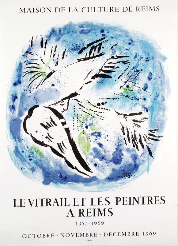 A poster with writing at the top and bottom. At the center of the poster is a circular composition and inside the round element is line abstract line work that is bird like. We see a face among the line work.