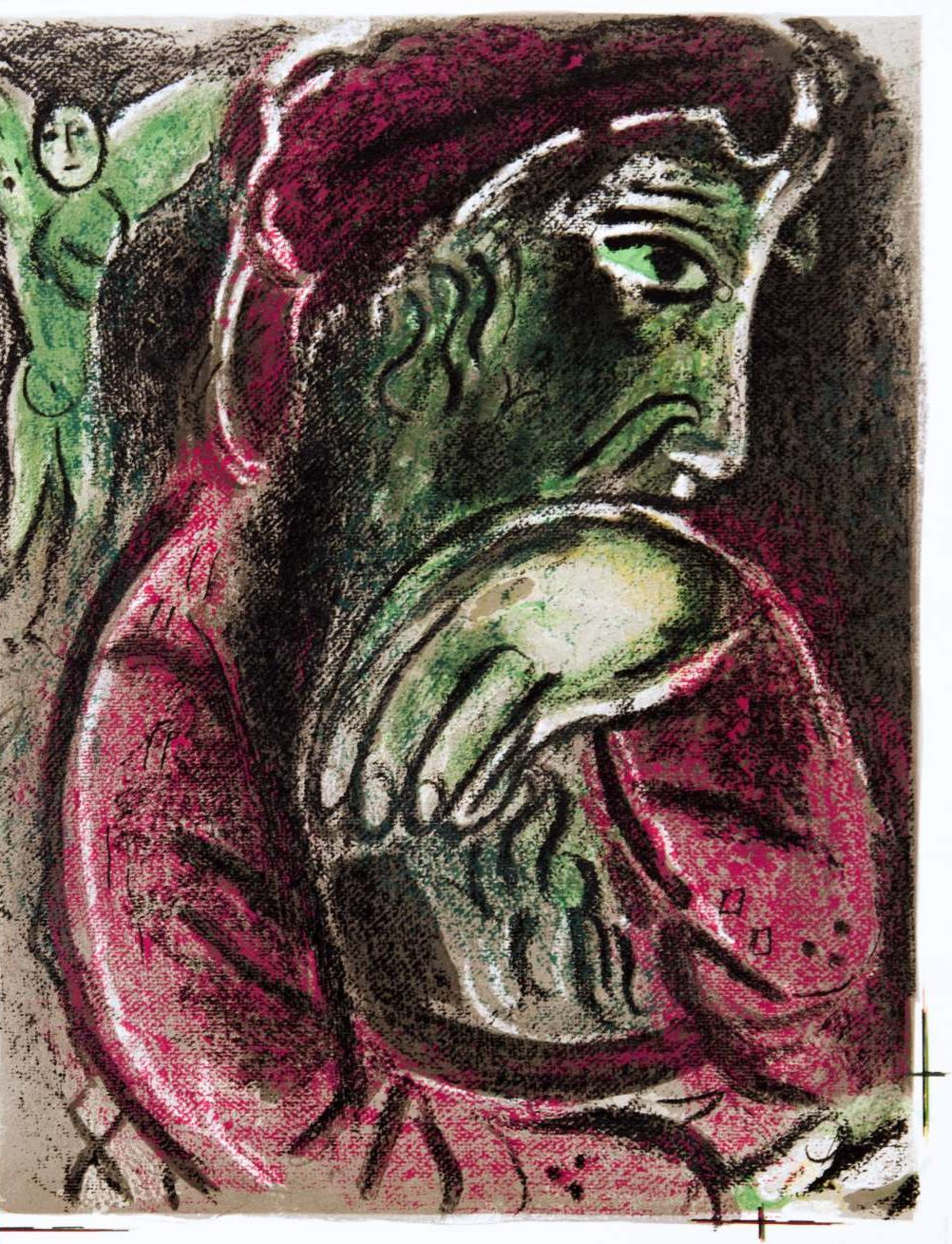 : Marc Chagall, Drawings for the Bible: Job in Despair, 1960. angle on the left side of the image,