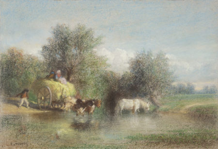 horse with a carriage crossing river.