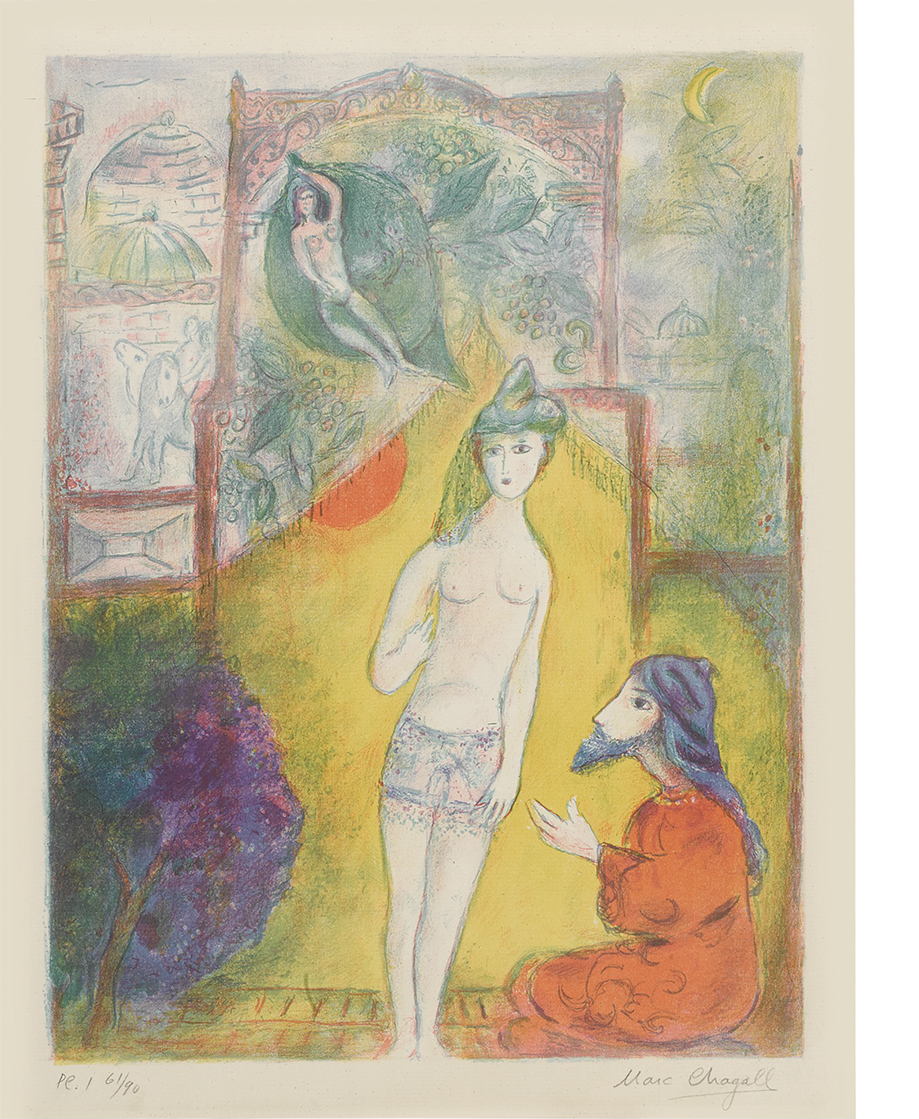 "Color lithograph on laid paper by Marc Chagall. From ""Four Tales from the Arabian Nights,"" comprising twelve signed and numbered lithographs in colors."