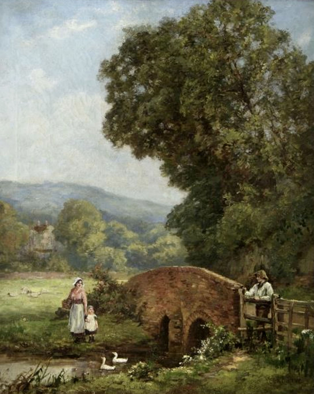 Henry John Yeend-King, View at Hambleden, Near Henley. Painting. a mother and a daughter watching geese swim in the pond.