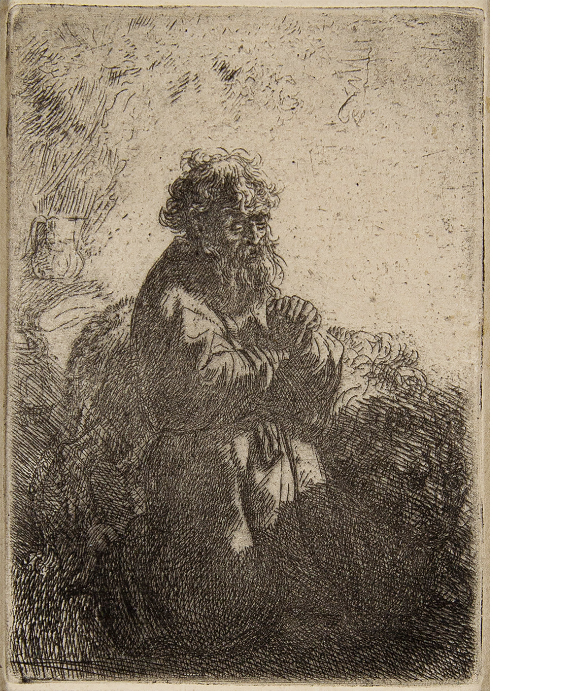 Rembrandt, etching of St. Jerome Kneeling in Prayer, Looking Down