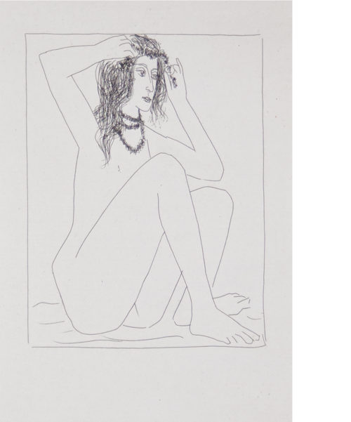 simple drawing of Naked woman crowned with flowers by Pablo Picasso