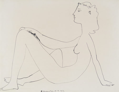 simple drawing of a nude female sitting on the ground. side view. by Pablo Picasso