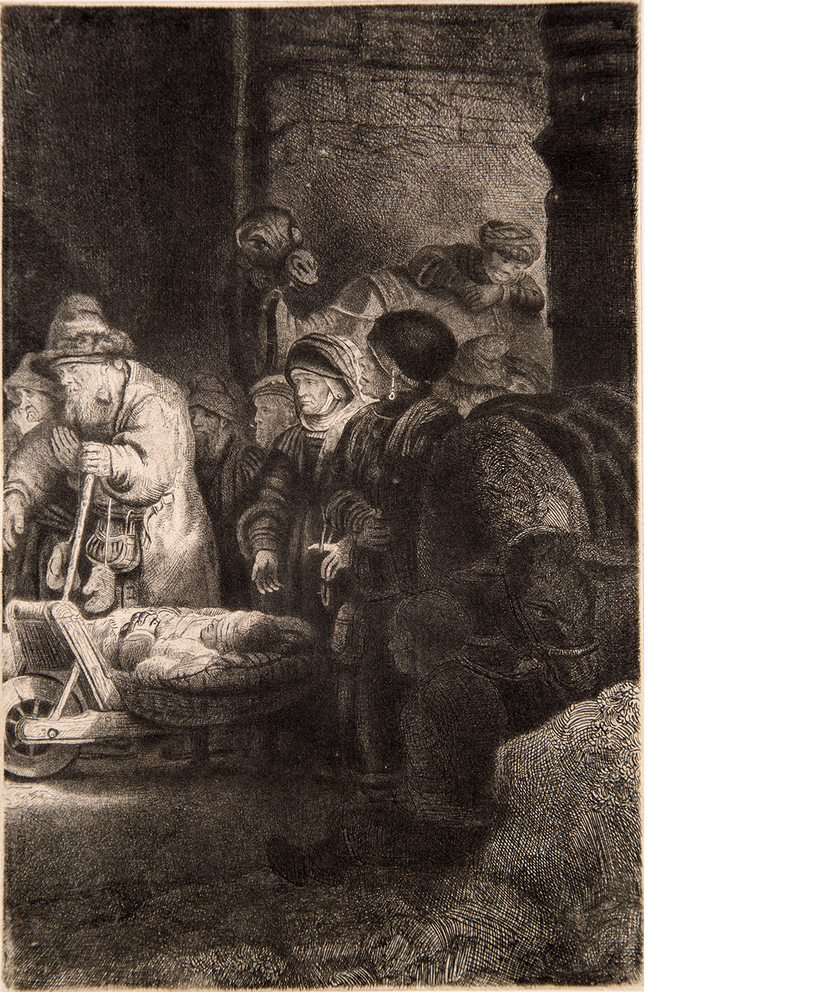 Rembrandt's etching: Christ Preaching