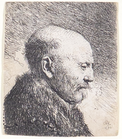 Rembrandt's etching: Bald-Headed Man in Right Profile [The Artist's Father?]